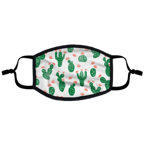 Watercolor Cacti Pattern Watercolor Flat Face Mask