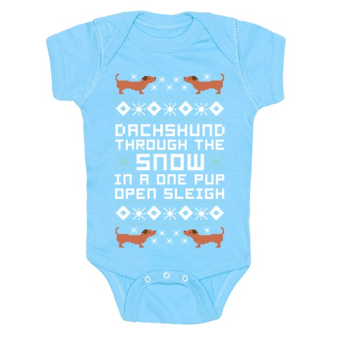 Dachshund Through The Snow In a One Pup Open Sleigh Baby Onesy