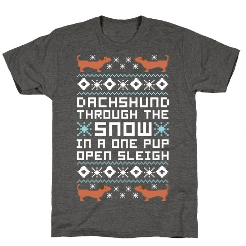 Dachshund Through The Snow In a One Pup Open Sleigh T-Shirt