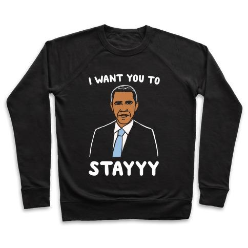 Stay Obama Parody White Print Pullover