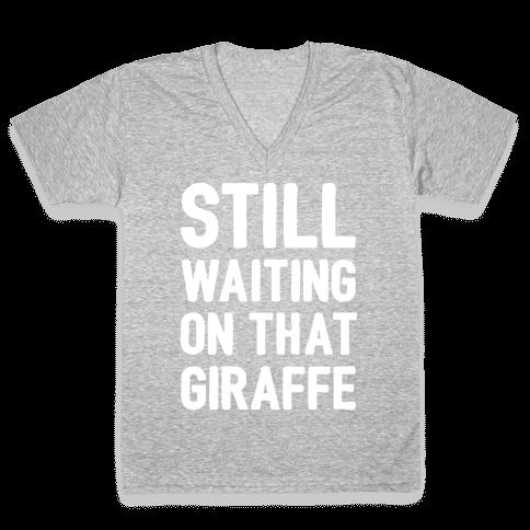 Still Waiting On That Giraffe White Print V-Neck Tee Shirt