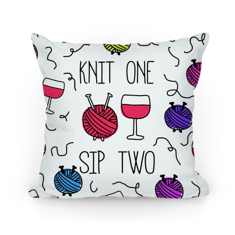 Knit One Sip Two Pillow