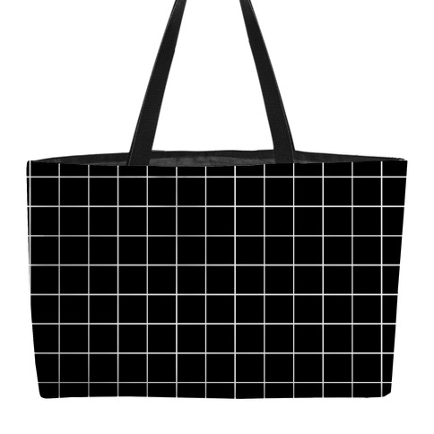 Black and White White Line Grid Design Weekender Tote