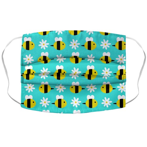 Dainty Bees and Daisies Pattern Blue Accordion Face Mask