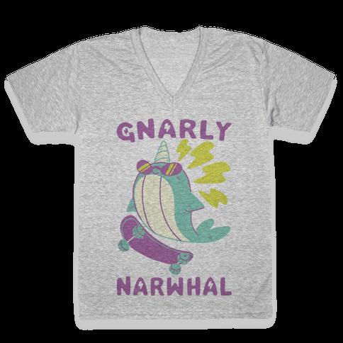 Gnarly Narwhal V-Neck Tee Shirt