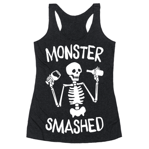 Monster Smashed (White) Racerback Tank Top
