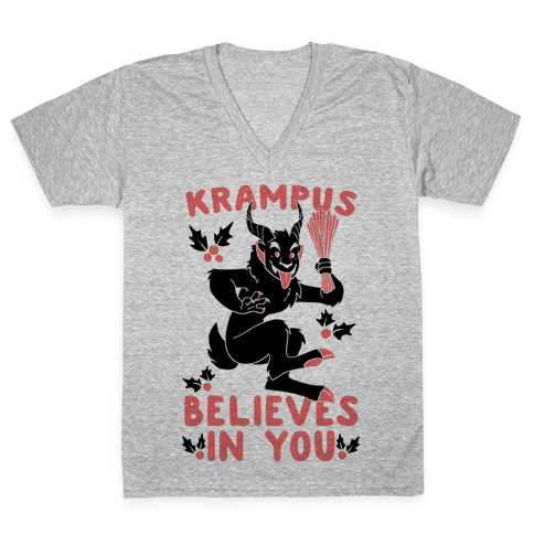 Krampus Believes in You V-Neck Tee Shirt