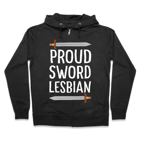 Proud Sword Lesbian Zip Hoodie