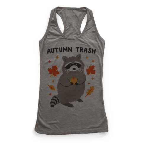Autumn Trash Raccoon Racerback Tank Top