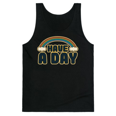 Have A Day White Print Tank Top