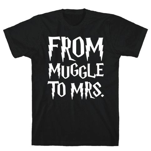From Muggle To Mrs. Parody White Print Mens T-Shirt