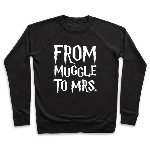 From Muggle To Mrs. Parody White Print Pullover