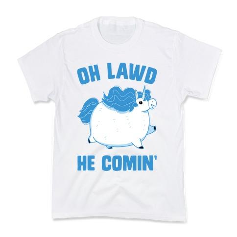 Oh Lawd He Comin' Unicorn Kids T-Shirt