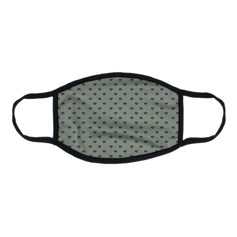 Dainty Dashes Pattern Grey Flat Face Mask