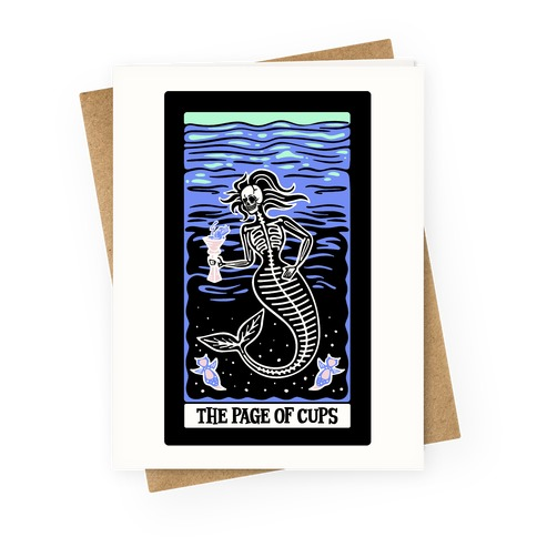 The Page of Cups Deep Sea Mermaid and Sea Angels Tarot Card Greeting Card
