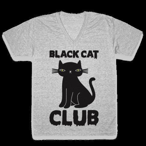 Black Cat Club V-Neck Tee Shirt