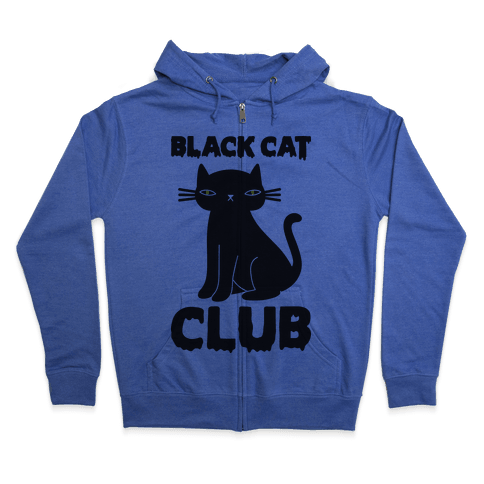 Black Cat Club Zip Hoodie