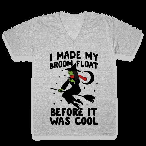 Broom Challenge Hipster Witch V-Neck Tee Shirt