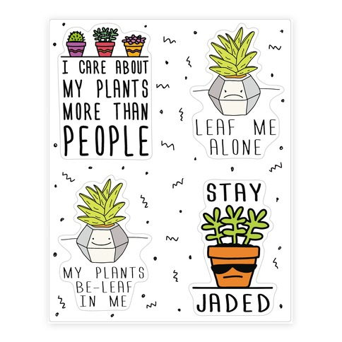 Plant Pun Doodle Sticker Sheet Sticker and Decal Sheet