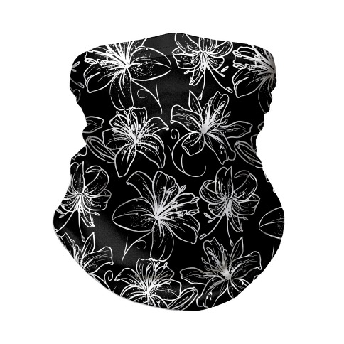 Black and White Tiger Lillies Pattern on Black Neck Gaiter