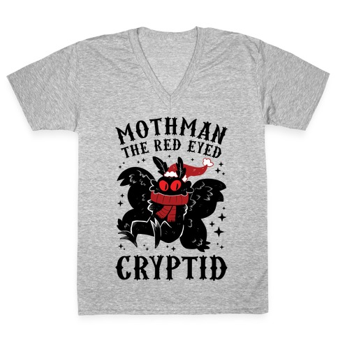 Mothman The Red Eyed Cryptid V-Neck Tee Shirt