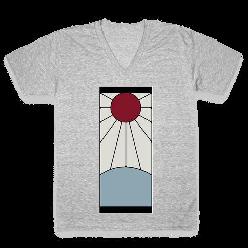 Tanjiro Earrings White Border Tee V-Neck Tee Shirt