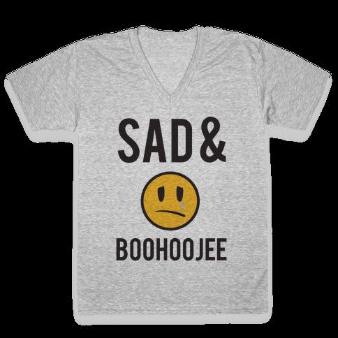 Sad & Boohoojee V-Neck Tee Shirt