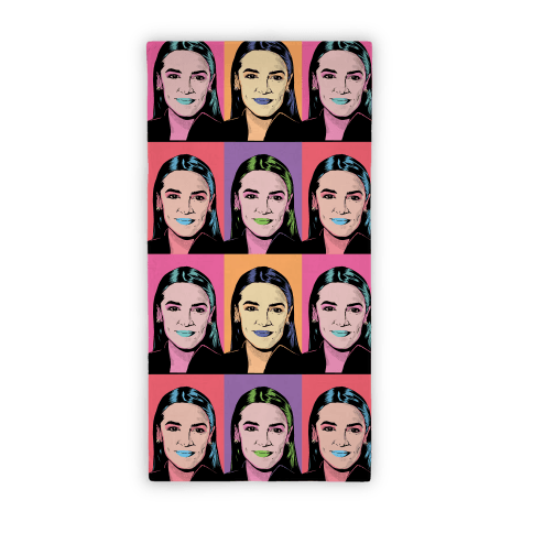 Alexandria Ocasio-Cortez Pop Art Parody Beach Towel