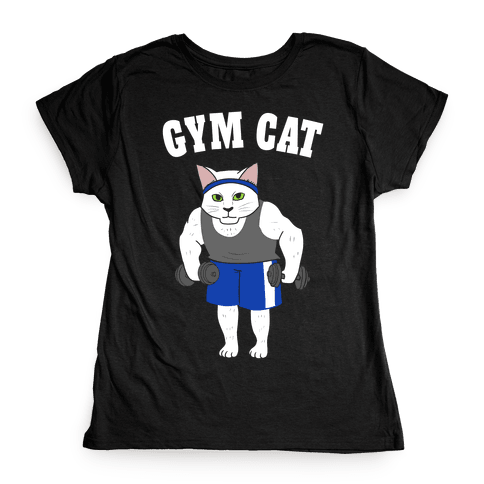 Gym Cat Womens T-Shirt