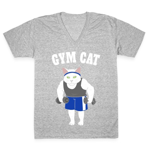 Gym Cat V-Neck Tee Shirt