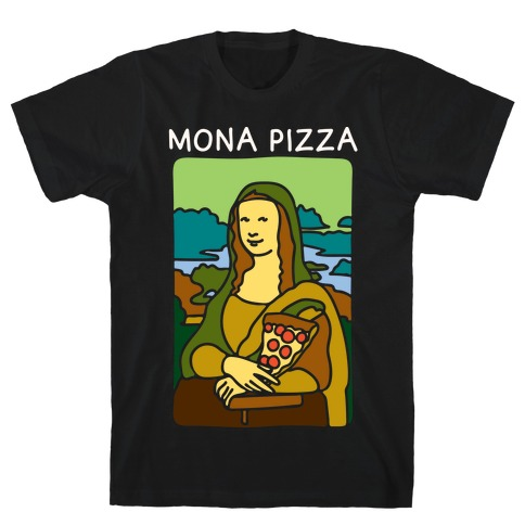 Mona Pizza Parody White Print T-Shirt