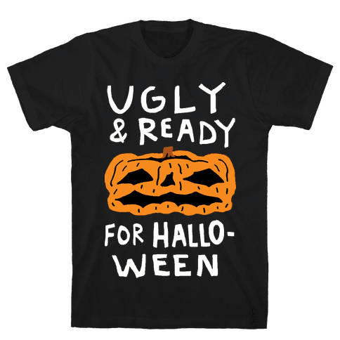 Ugly And Ready For Halloween Pumpkin Mens T-Shirt