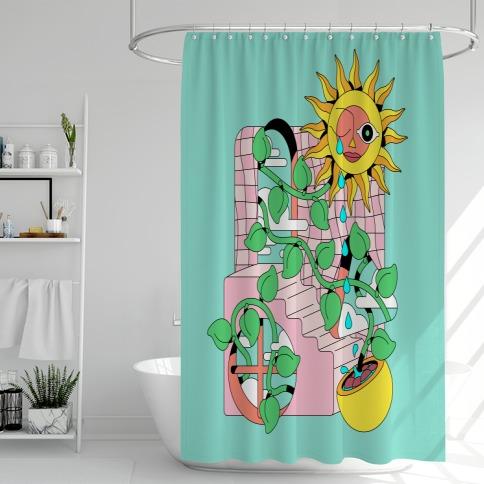 Trippy Sunflower Shower Shower Curtain