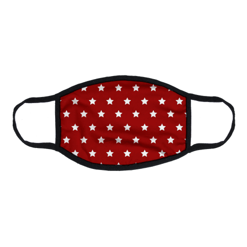 Red White Stars Flat Face Mask