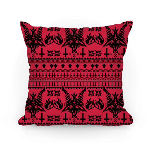 Baphomet Ugly Christmas Sweater  Pillow