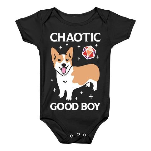 Chaotic Good Boy Corgi Baby Onesy