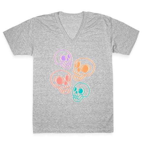 Pastel Skulls Glitch V-Neck Tee Shirt