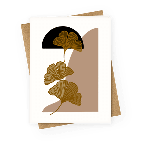 Minimalist Ginkgo Leaf Illustration Greeting Card