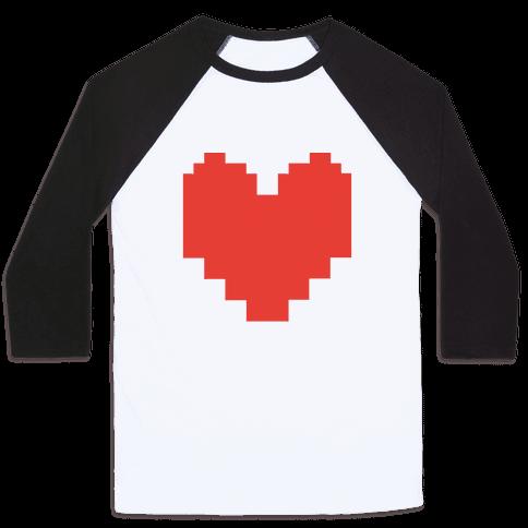 Undertale Pixel Heart Baseball Tee