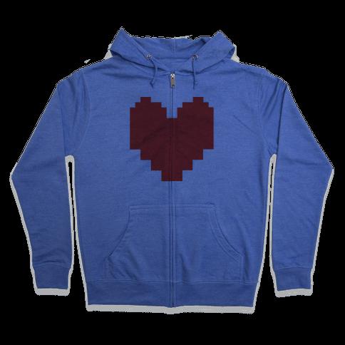 Undertale Pixel Heart Zip Hoodie