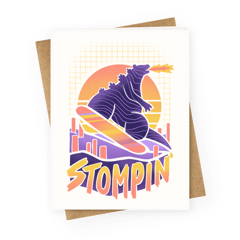 Stompin' Snowboarding Godzilla Greeting Card