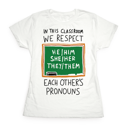 In This Classroom We Respect Each Other's Pronouns Womens T-Shirt