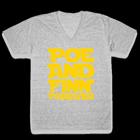 Poe and Finn Forever White Print V-Neck Tee Shirt