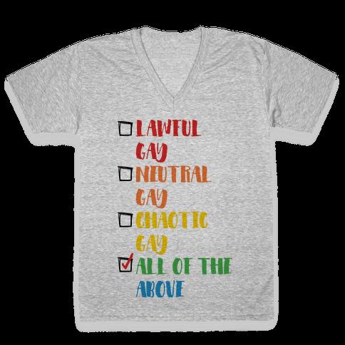 Lawful Gay Neutral Gay Chaotic Gay V-Neck Tee Shirt