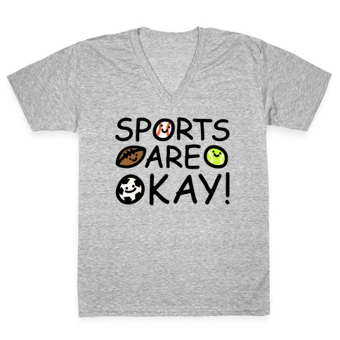 Sports Are Okay White Print V-Neck Tee Shirt