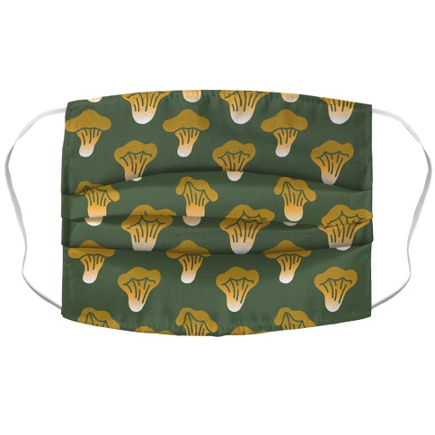 Golden Oyster Mushroom Green Pattern Accordion Face Mask