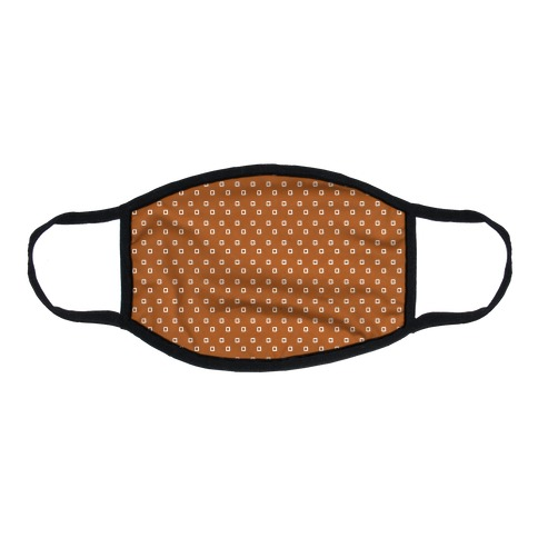 Dainty Squares Pattern Rust Orange Flat Face Mask