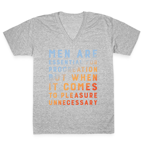 Men Aren't Necessary Quote White Print V-Neck Tee Shirt