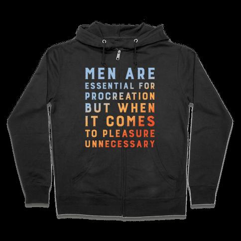 Men Aren't Necessary Quote White Print Zip Hoodie