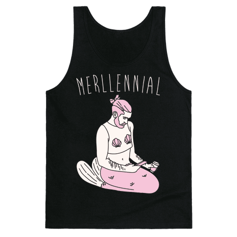 Merllennial White Print Tank Top